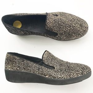 FitFlop Loafer Calf Hair Metallic F Pop Shoes 37 7